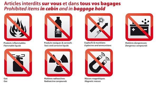 objet interdits en avion