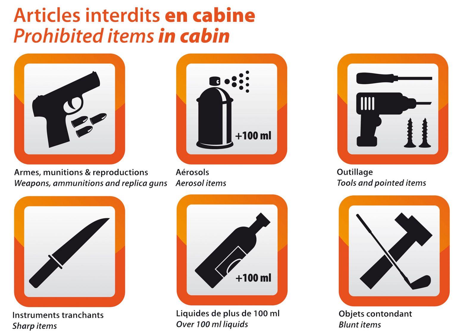 objets interdits en cabine